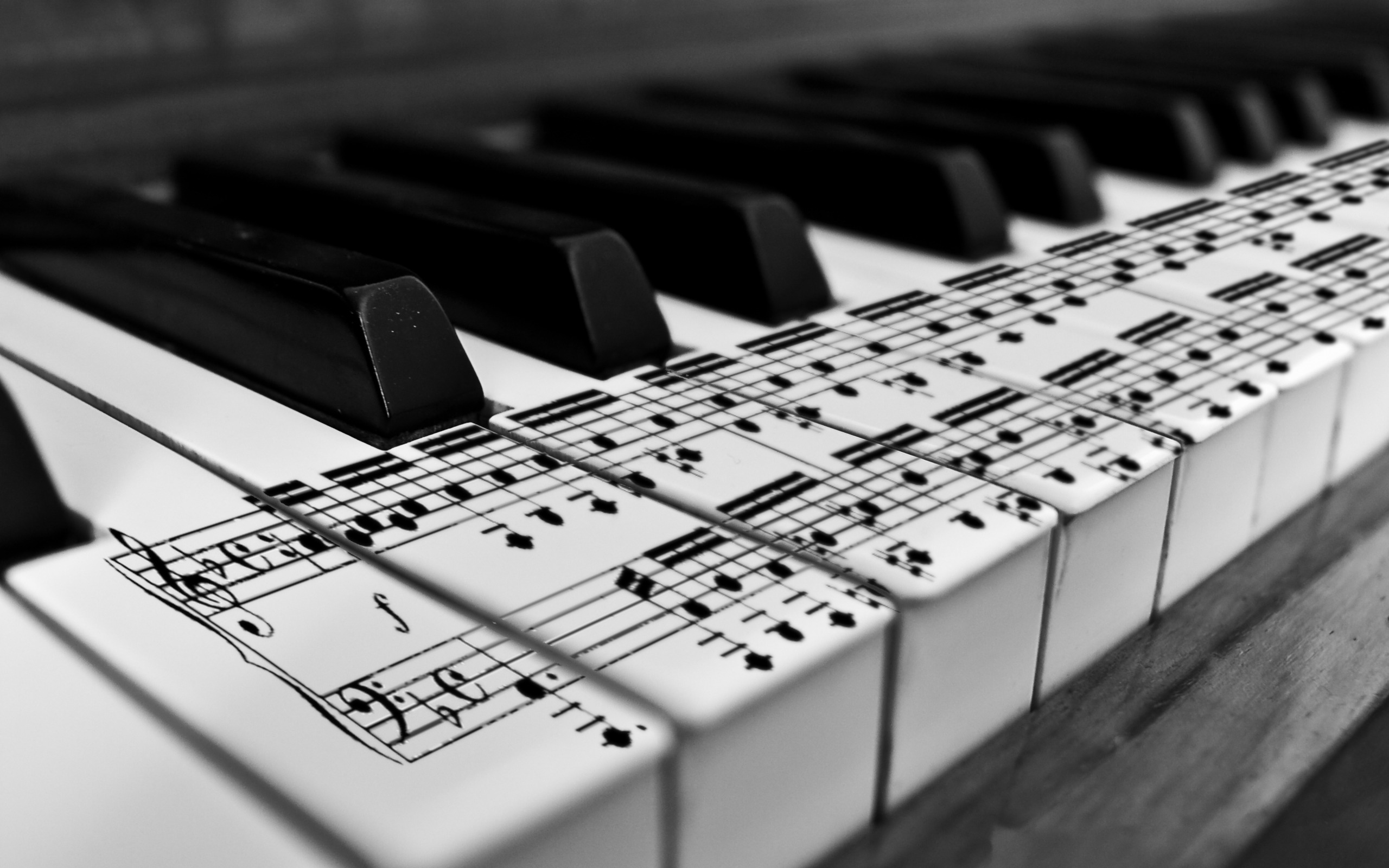 Black and white piano music notes wallpaper